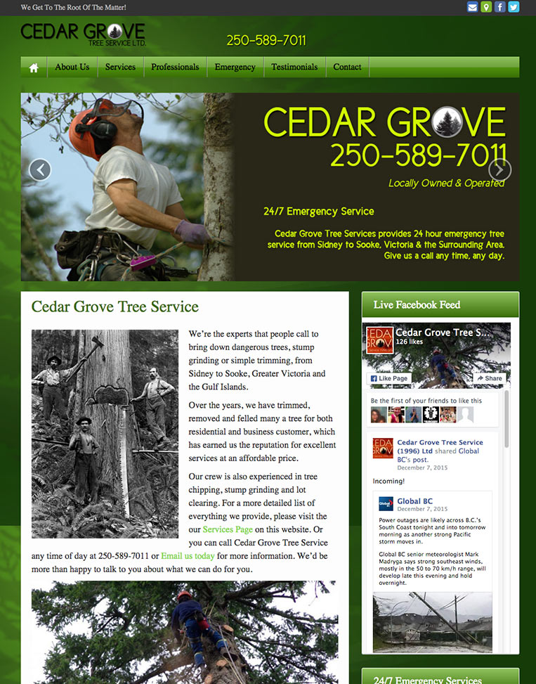 Cedar Grove Tree Service Designed by Candu Web Design - Victoria BC