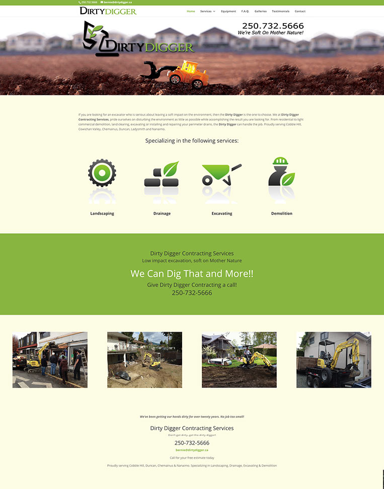 The Dirty Digger Designed by Candu Web Design - Duncan BC