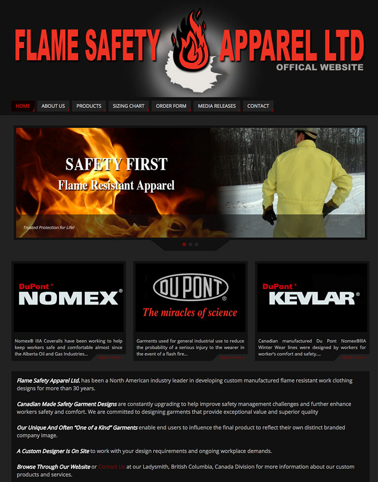 Flame Safety Apparel Designed by Candu Web Design