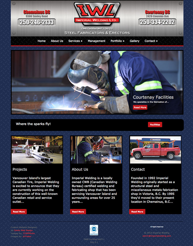 Imperial Welding Designed by Candu Web Design - Duncan BC