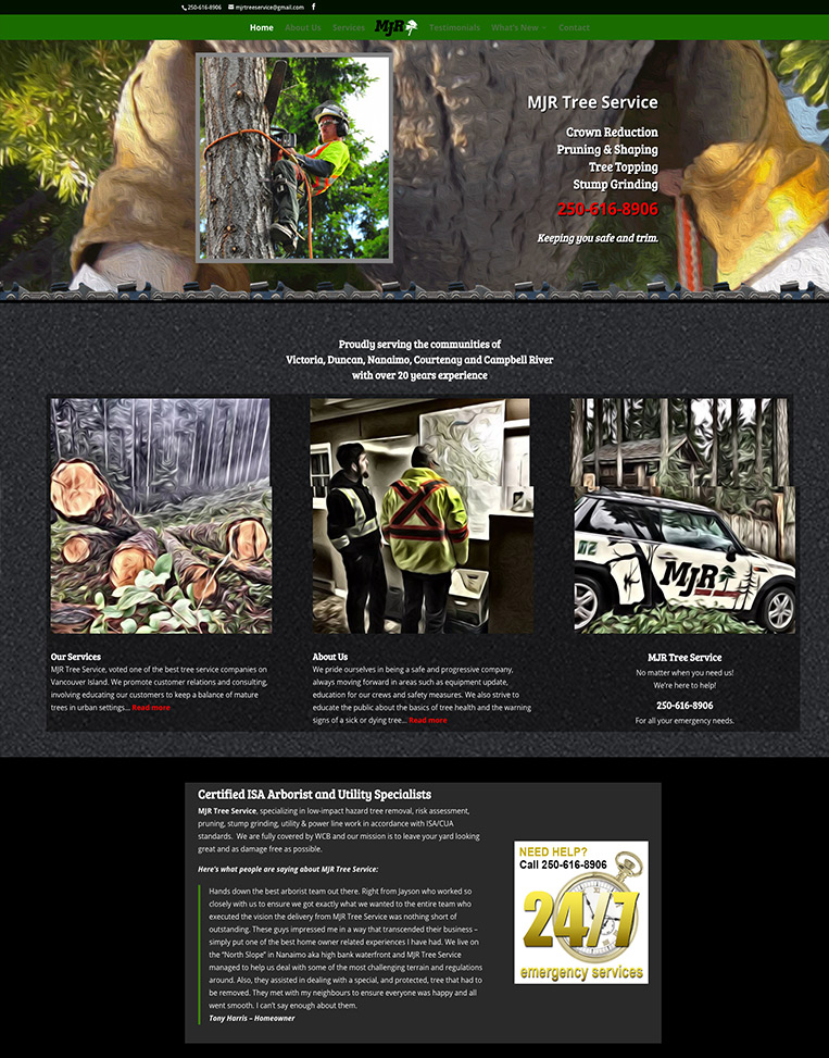MJR Tree Service Designed by Candu Web Design