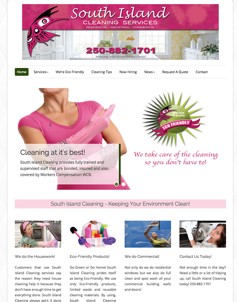 South Island Cleaning Designed by Candu Web Design