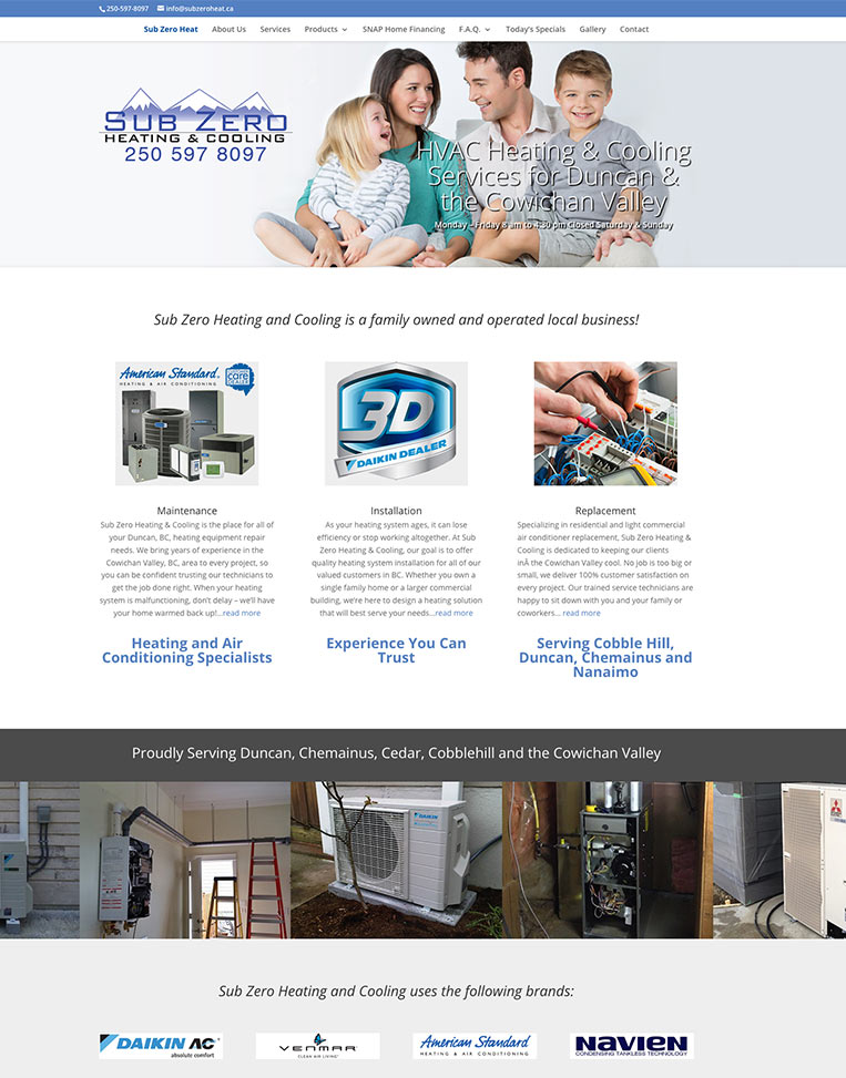 Sub Zero Heating and Cooling Ltd. Designed by Candu Web Design - Duncan BC