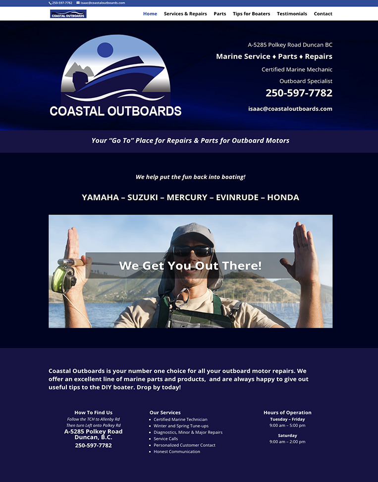 Coastal Outboards Designed by Candu Web Design - Duncan BC