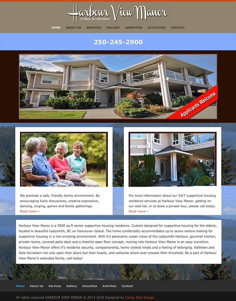 Harbour View Manor Designed by Candu Web Design
