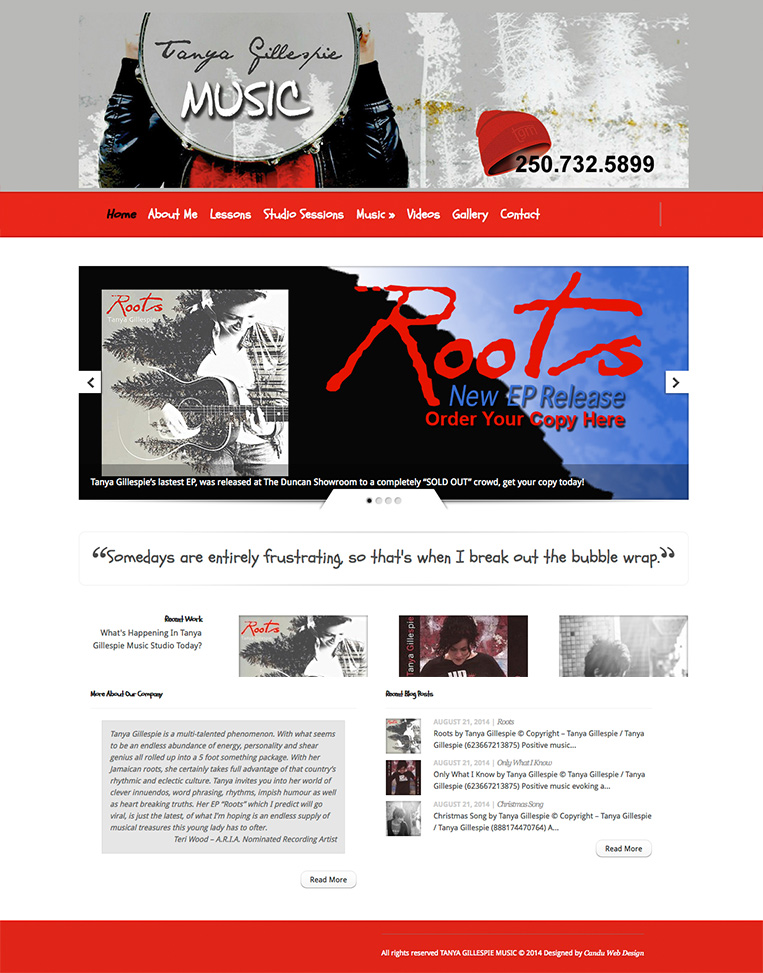 Tanya Gillespie Music Designed by Candu Web Design - Duncan BC