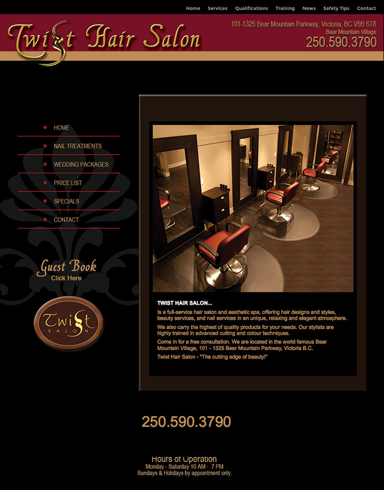 Twist Hair Salon Designed by Candu Web Design - Victoria BC