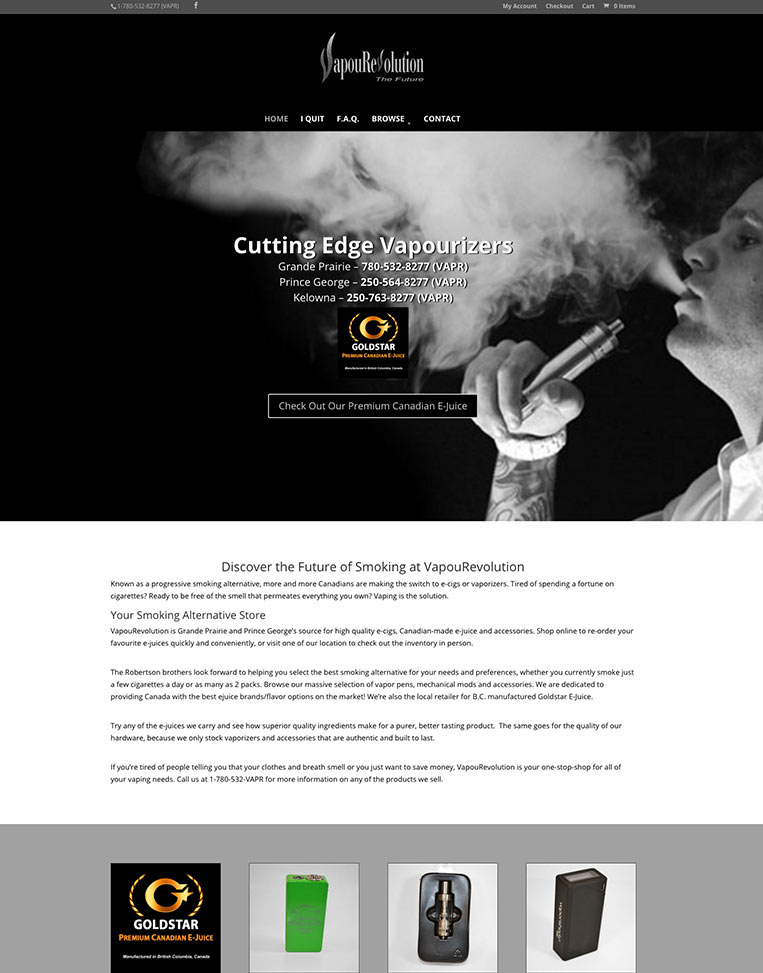 Vapourevolution Designed by Candu Web Design - Edmonton Alberta