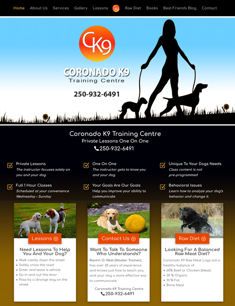 Coronado K9 Training Centre Designed by Candu Web Design - Duncan BC