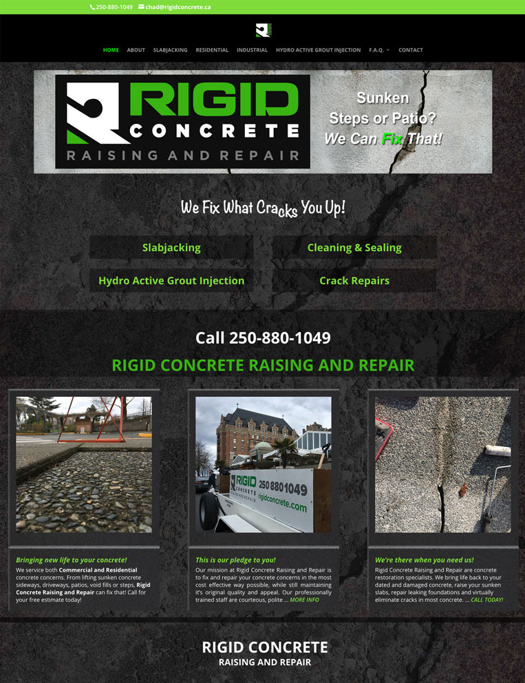 Rigid Concrete Designed by Candu Web Design - Duncan BC