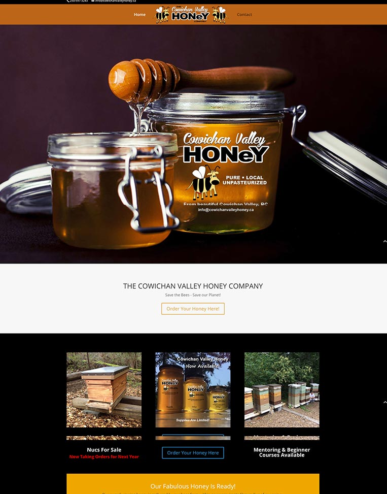 The Cowichan Valley Honey Company Designed by Candu Web Design - Victoria BC