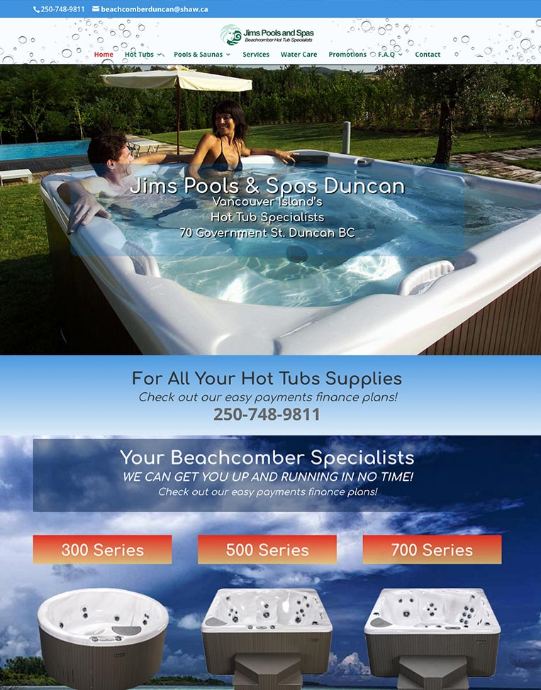 Jims Pools and Spas Designed by Candu Web Design - Duncan BC