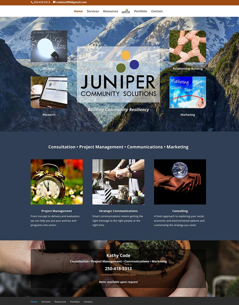 Juniper Community  Solutions Designed by Candu Web Design - Victoria BC