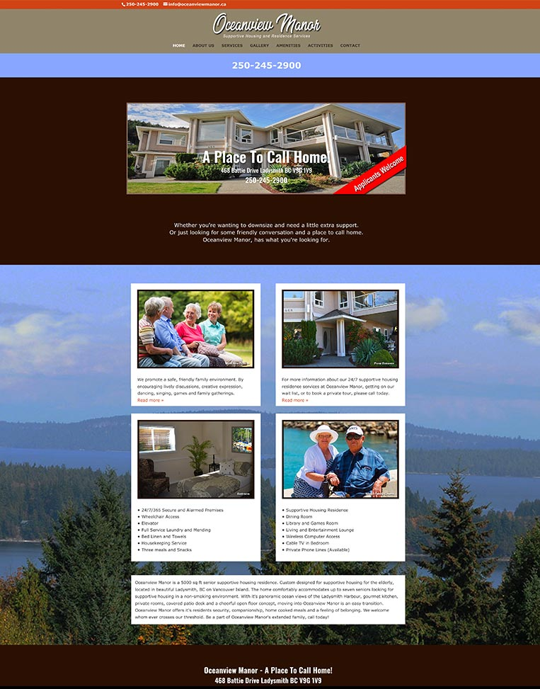 Oceanview Manor Designed by Candu Web Design - Victoria BC