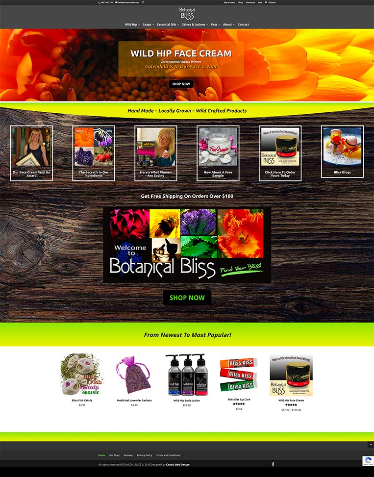 Botanical Bliss Designed by Candu Web Design - Victoria BC