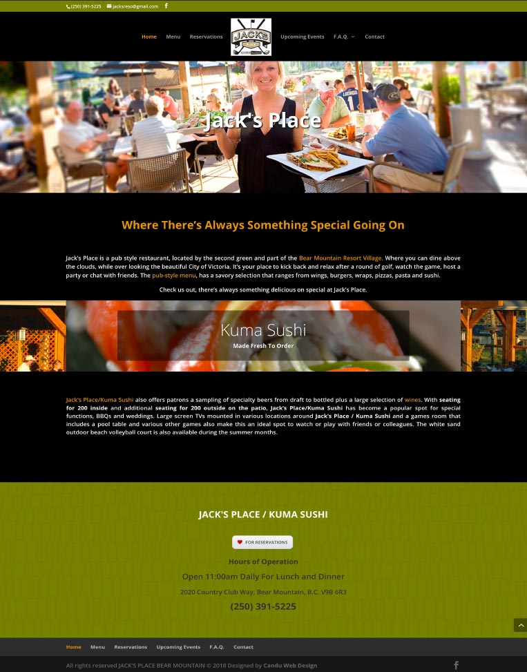 Jack's Place Bear Mountain Designed by Candu Web Design - Victoria BC