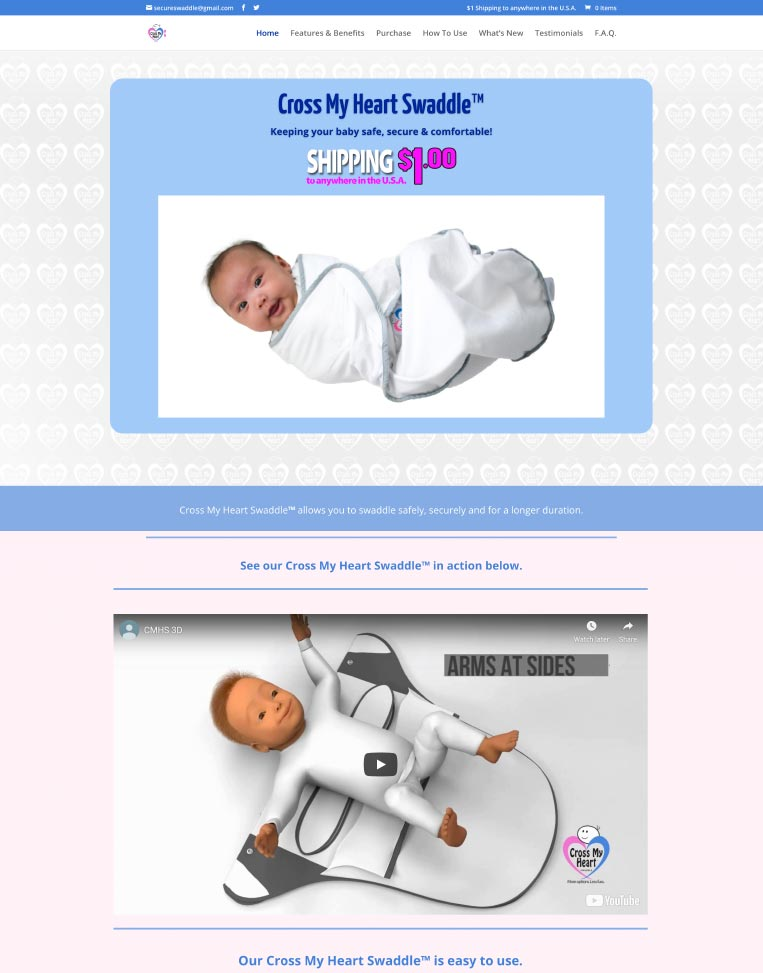 Cross My Heart Swaddle Designed by Candu Web Design - United States