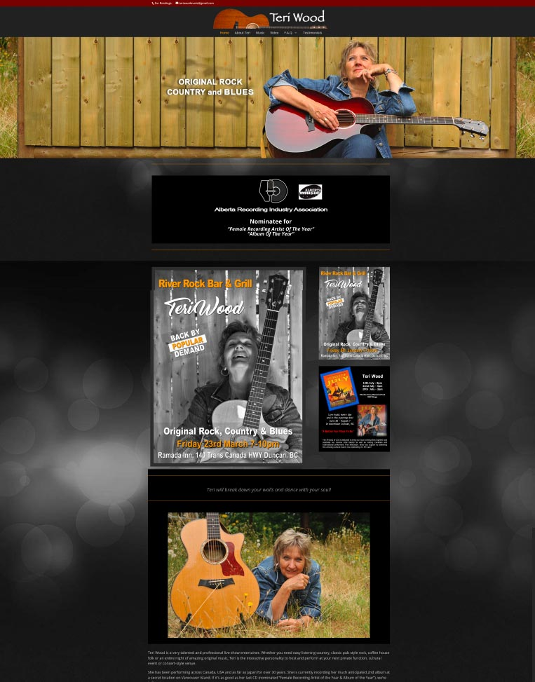 Teri Wood Music Designed by Candu Web Design - North Cowichan BC